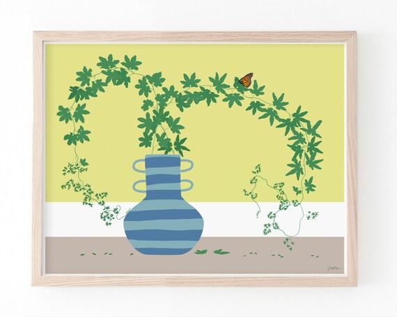 Still Life Art Print with Vines. Multiple Sizes. Framed or Unframed. 210427.