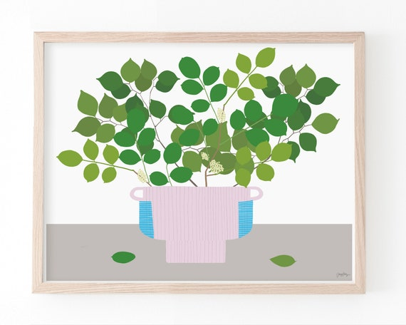Still Life with Rosewood Branches in Pink Vase Art Print. Available Framed or Unframed. 210310.