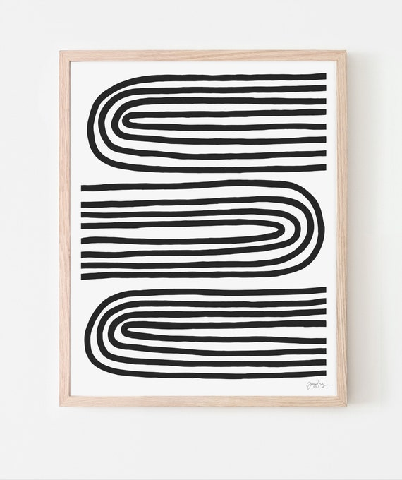 Abstract Art Print with Black Lines. Available Framed or Unframed. Multiple Sizes. 200218.