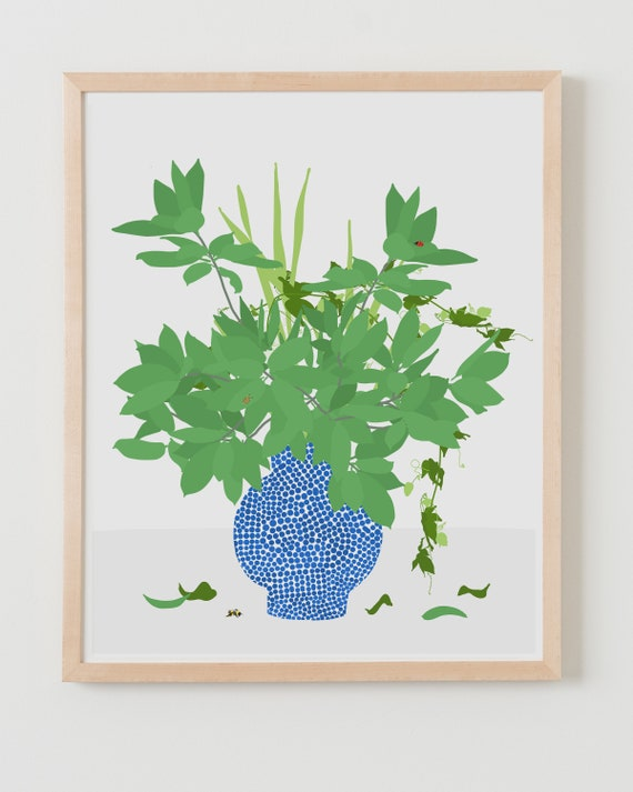 Fine Art Print.  Still Life with Dots, Branches, and Insects. Available Framed or Unframed.