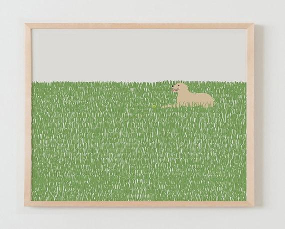 Fine Art Print.  Happy Dog in Grassy Field.  October 8, 2014.