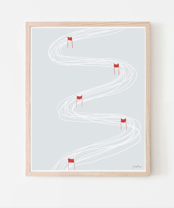 Ski Race Art Print. Available Framed or Unframed.  140217.