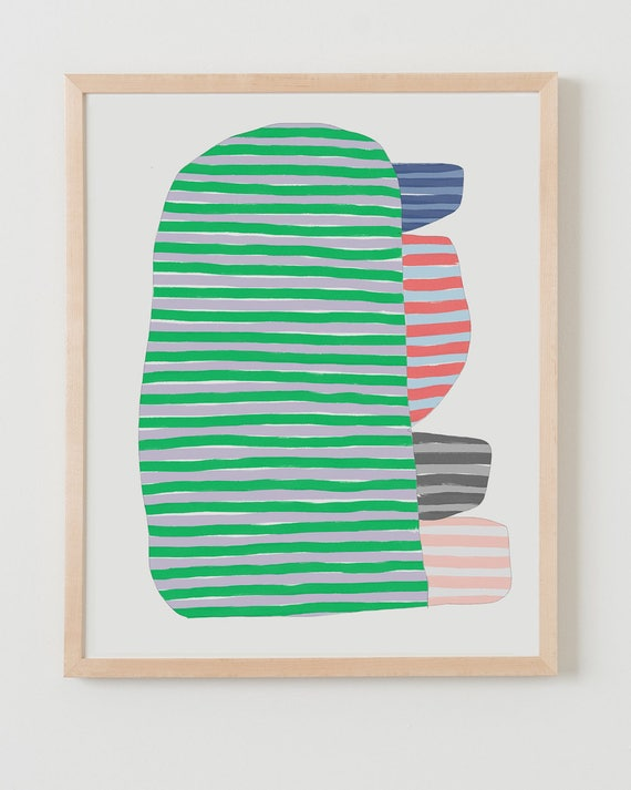 Fine Art Print.  Abstract Stripe Study with Green, September 20, 2017.