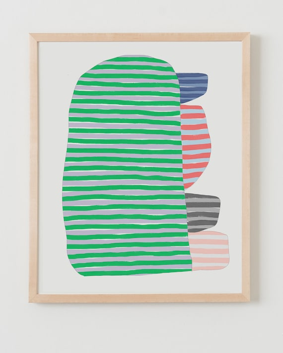 Framed Fine Art Print.  Abstract Stripe Study with Green, September 20, 2017.