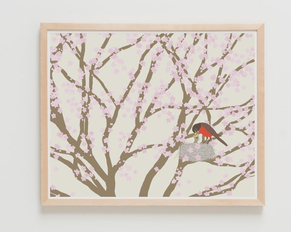 Mommy and Baby Bird Art Print. Available Framed or Unframed.