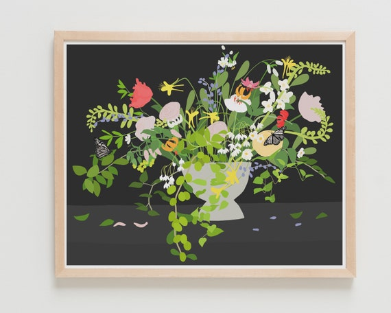 Framed Fine Art Print.  Still Life with Flowers and Insects, January 10, 2020