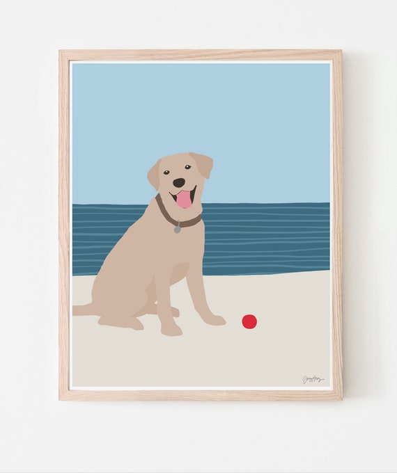 Dog at Beach Art Print. Framed or Unframed. Multiple Sizes Available. 160522.