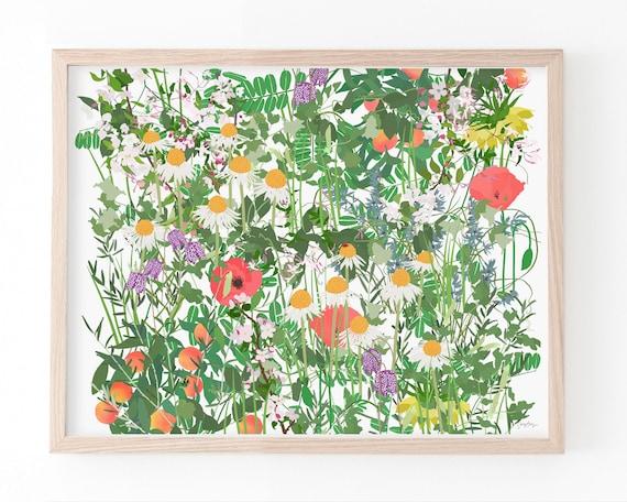 Leaves, Vines, and Flowers Signed Art Print. Available Framed or Unframed. Multiple Sizes. 210524.
