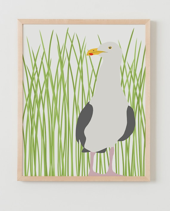 Fine Art Print.  Seagull with Grass.  August 6, 2013.