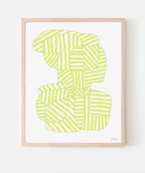 Abstract Art Print with Lemon Stripes. Framed or Unframed. Multiple Sizes Available. 170816.