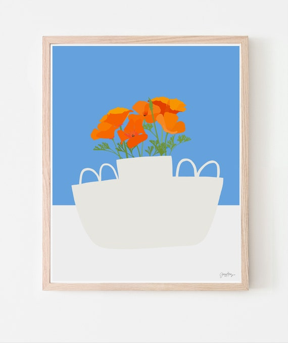 Still Life with California Poppy Flowers in a White Vase with a Blue Sky. Art Print. Available Framed or Unframed. 201018.