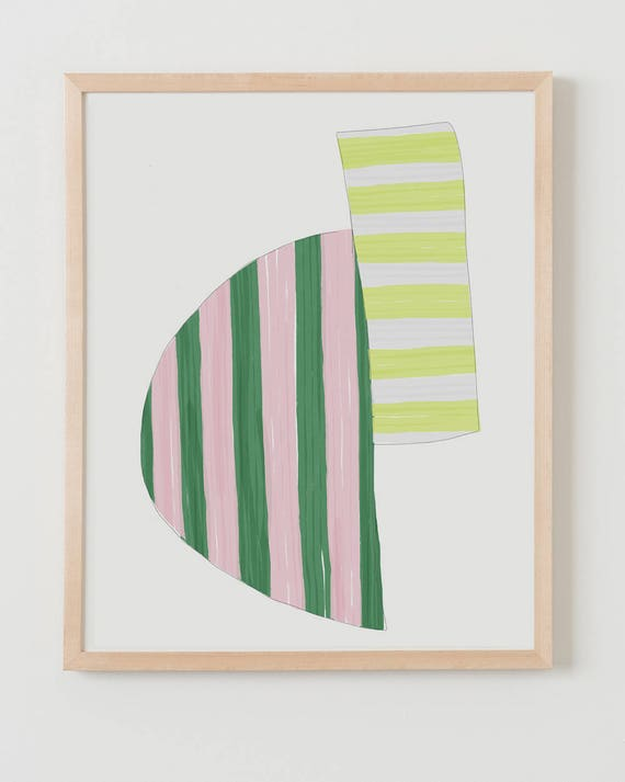 Framed Fine Art Print. Abstract Stripe Study with Pink, Green, and Yellow. October 28, 2017.