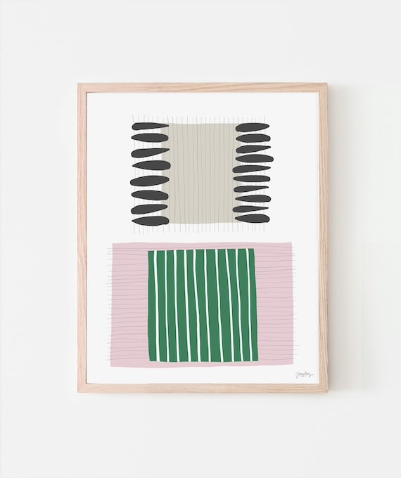 Abstract Art Print with Pink and Green Stripes. Signed. Available Framed or Unframed. 190716.