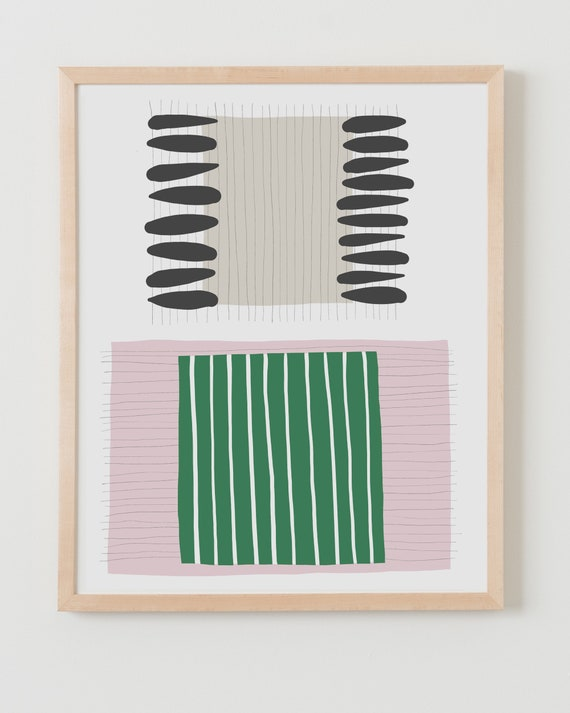 Framed Fine Art Print. Abstract with Pink and Green Stripes, July 16, 2019