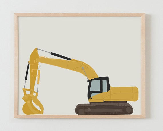 Fine Art Print. Construction Excavator. Available Framed or Unframed.