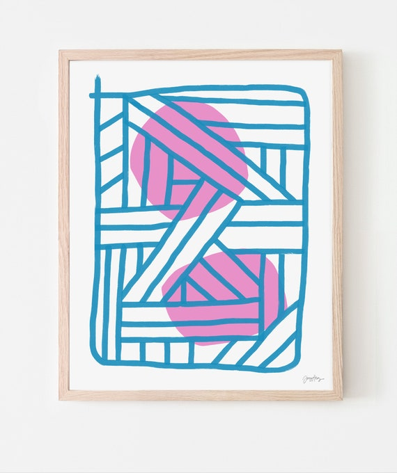 Abstract Art Print with Blue and Pink. Available Framed or Unframed. 171126.