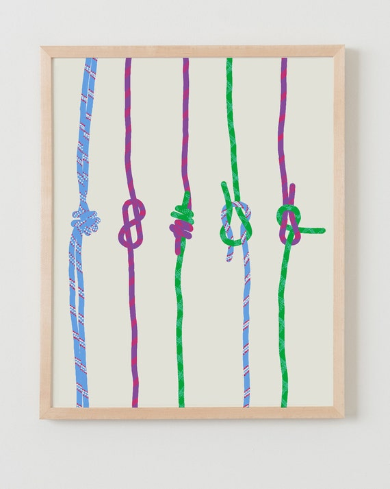 Fine Art Print.  Rock Climbing Ropes with Knots.  March 6, 2012.
