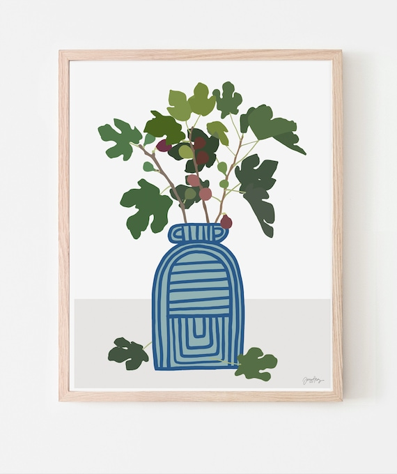 Still Life with Fig Branches in Striped Vase. Multiple Sizes. Available Framed or Unframed. 210122.