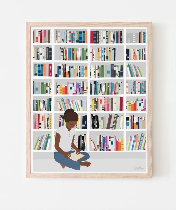 Bookworm Art Print. Available Framed or Unframed. 200721.