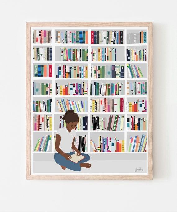 Bookworm Art Print. Available Framed or Unframed. 200721.