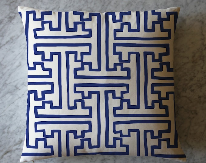 Pillow with Blue and White China Pattern. May 11, 2016