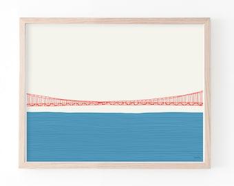 Golden Gate Bridge Art Print Middle. Framed or Unframed. Multiple Sizes Available. 150324.