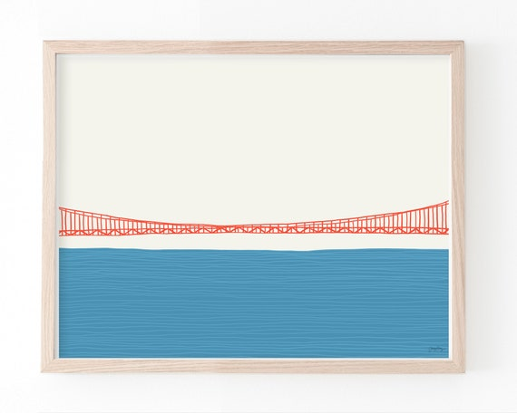Golden Gate Bridge Art Print Middle. Framed or Unframed. Multiple Sizes Available. 150324.
