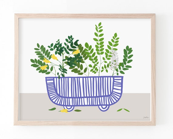Still Life with Acacia Branches in Striped Vase Art Print. Available Framed or Unframed. Multiple Sizes. 210105.