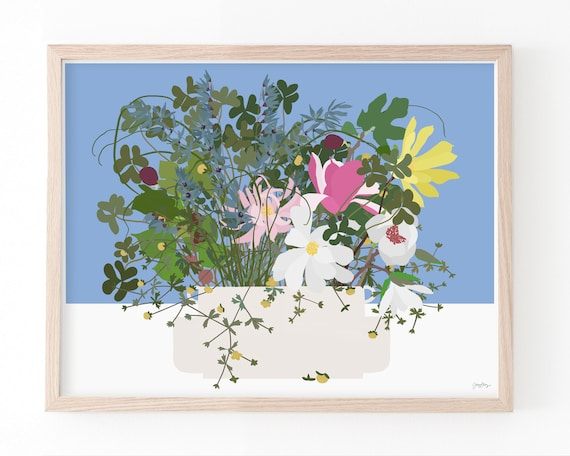 Still Life with Many Flowers in White Vase. Available Framed or Unframed. 210322.