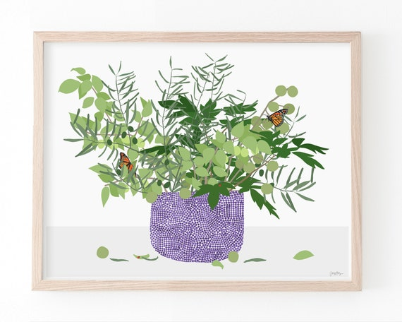 Still Life Art Print with Butterfly. Multiple Sizes. Framed or Unframed. 200228.