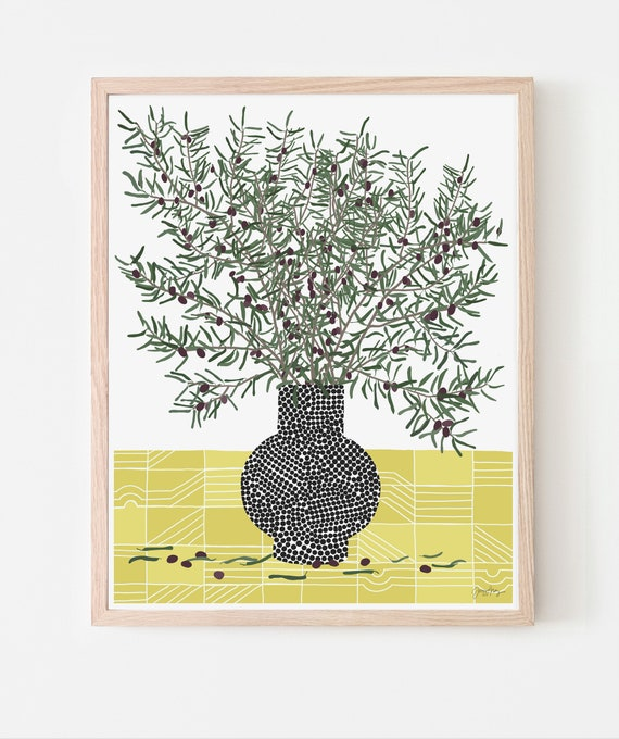Still Life with Olive Branches Art Print. Available Framed or Unframed. 200501.