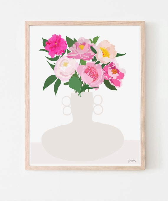 Still Life with Peonies Art Print. Available Framed or Unframed. 200910.