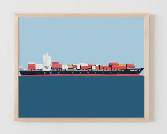Fine Art Print.  Container Ship. November 25, 2014.
