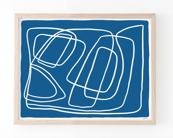 Abstract Art Print with Blue and White. Available Framed or Unframed. 180930.