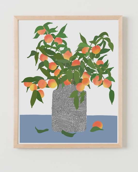 Framed Fine Art Print.  Still Life with Peaches,  March 23, 2020