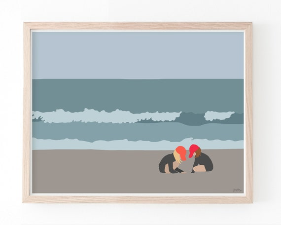Girls at the Beach Art Print. Available Framed or Unframed. Multiple Sizes Available. 160502.