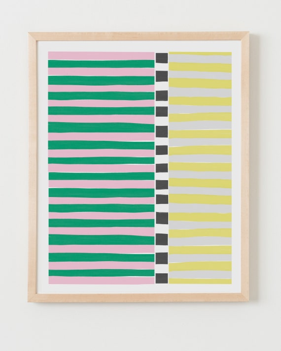 Fine Art Print.  Colorblock Stripes Pink and Green. Available Framed or Unframed.