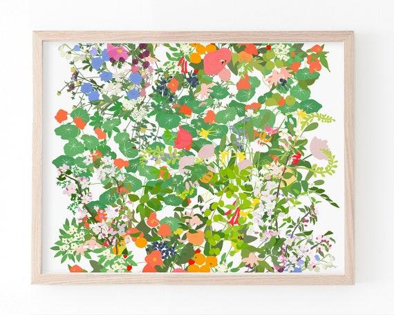 Leaves, Vines, and Flowers Art Print. Available Framed or Unframed. Multiple Sizes. 210510.