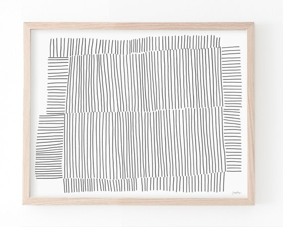 Abstract Art Print with Black Lines. Available Framed and Unframed. 181017.