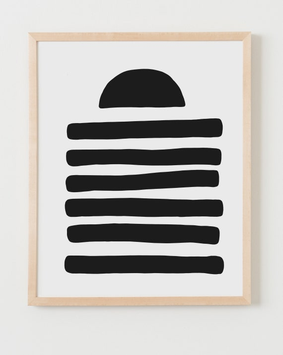 Fine Art Print.  Abstract with Black Shapes, Available Framed or Unframed.