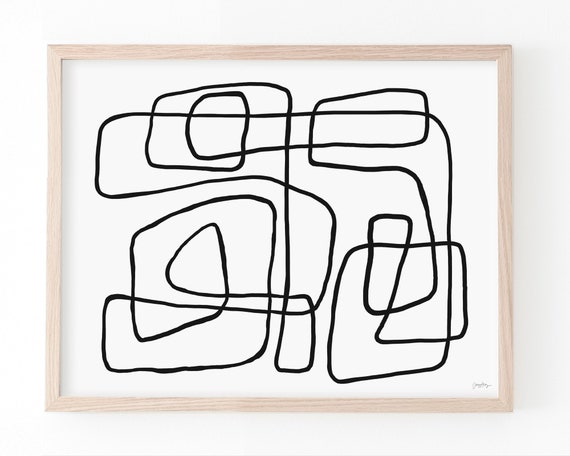 Fine Art Print.  Abstract with Black Line. Available Framed or Unframed. 200728.