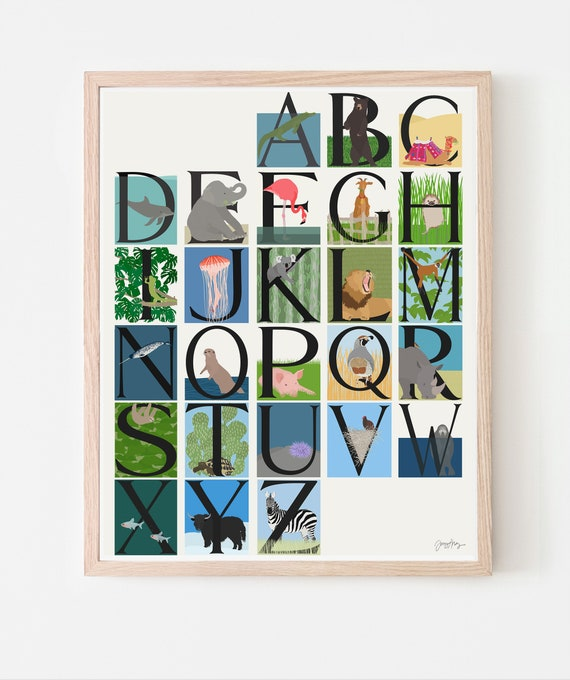 Animal Alphabet Art Print. A to Z. Available Framed or Unframed.