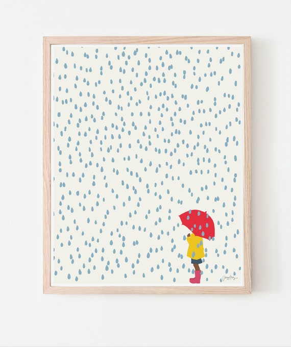 Girl in the Rain Art Print. Available Framed or Unframed. 140206.