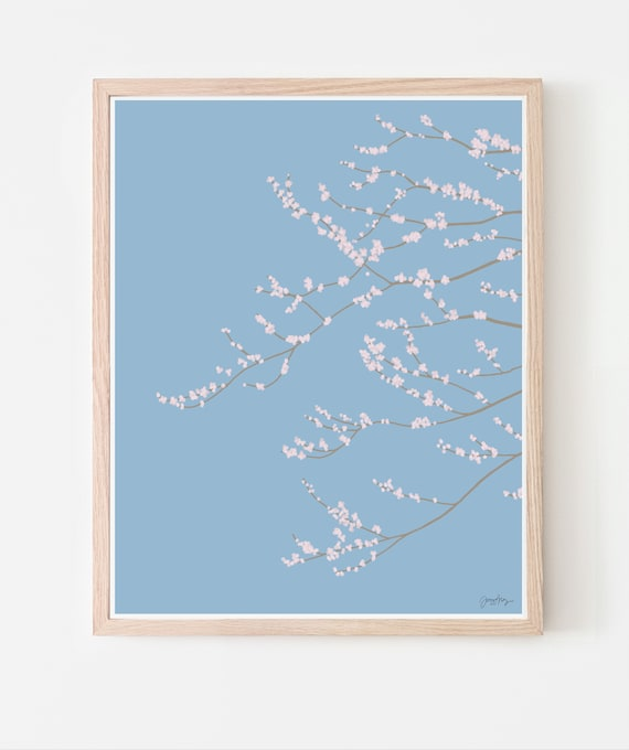Cherry Blossoms Art Print. Available Framed or Unframed. Multiple Sizes. 120126.
