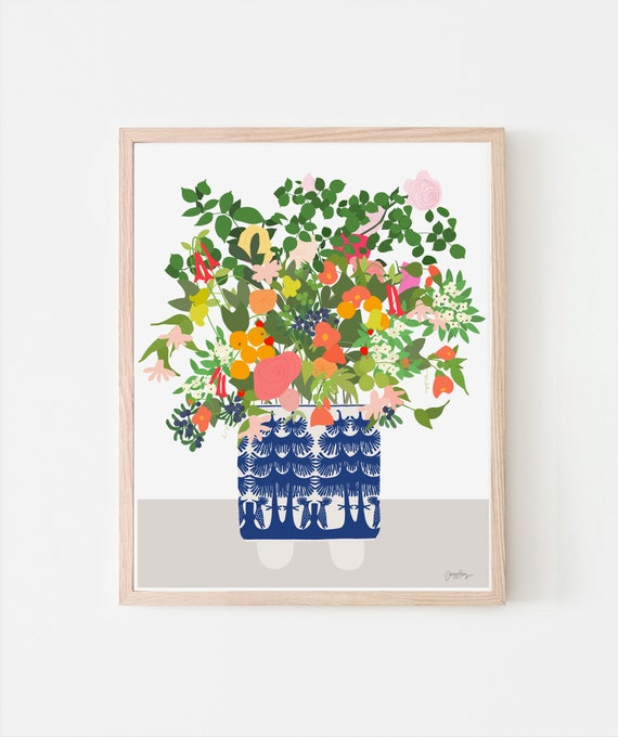 Still Life with Flowers and Blue and White Vase. Signed Art Print. Available Framed or Unframed. 201008.