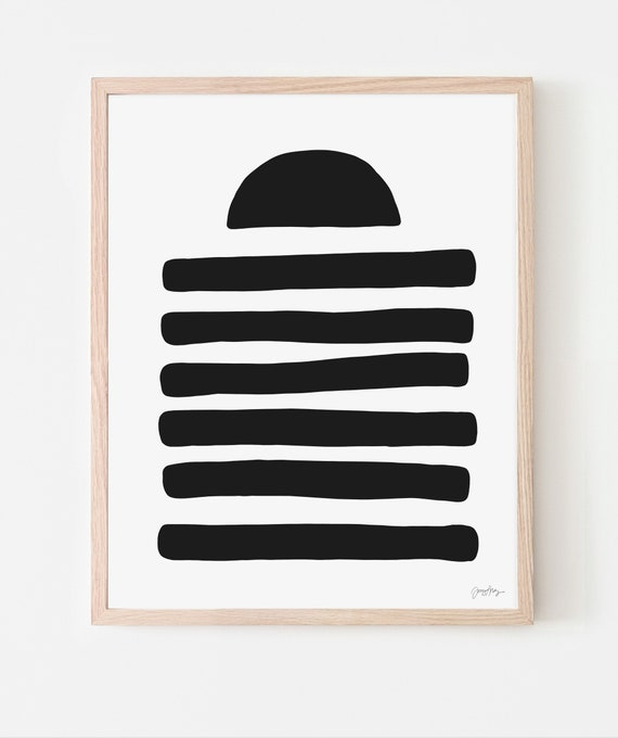 Abstract Art Print with Black Shapes. Available Framed or Unframed. Multiple Sizes. 200718.