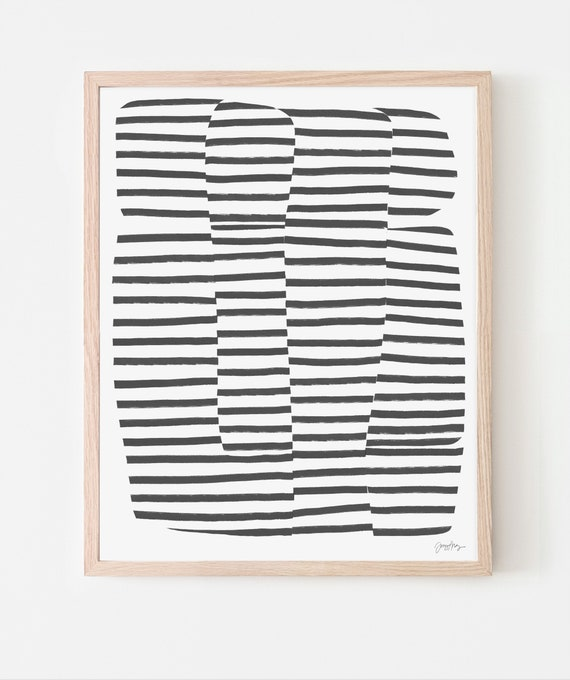 Abstract Art Print with Black Stripes. Available Framed or Unframed. 181103.