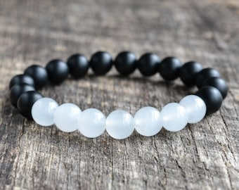8mm White Jade Bracelet Matte Onyx Bracelet Mens Bracelet Black Bead Bracelet Gemstone Bracelet Womens Yoga Bracelet Gifts