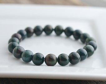 8mm Bloodstone Bracelet • Mens Bracelet • Bead Bracelet • Gemstone Bracelet • Stretch Bracelet • Womens • Jewelry • Gifts