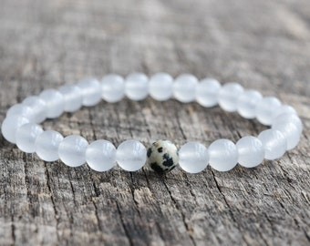 6mm Dalmatian Jasper Bracelet, White Jade Bracelet, Gemstone Bracelet, Womens Bead Bracelet, Mens Bracelet, Yoga Bracelet, Jewelry, Gifts